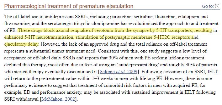Estudo mostrando Priligy (Dapoxetine) como tratamento para a ejaculação precoce